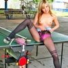 Blonde Evelin Posing In Fashion Pantyhose On The Tennis Tabl...
