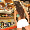 Janessa Brazil Flashing Tanned Rump In Workshop
