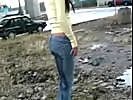 Pissing - Girl Pisses Her Tight Jeans