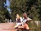 Exhibitionist Blonde Lesbians Flashing And Pissing In Public...